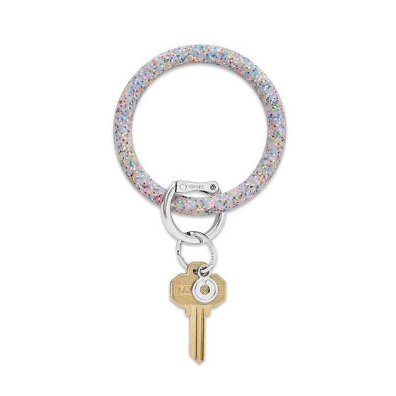 Big O Key Ring Silicone- Rainbow Confetti