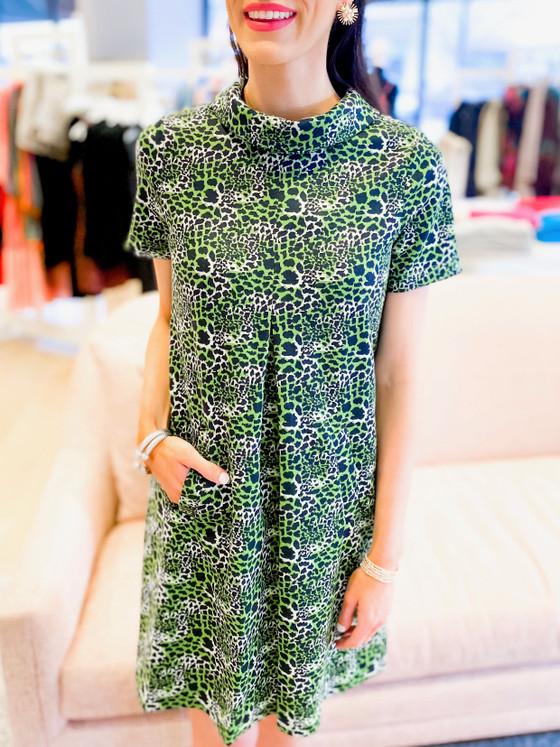 Kristen Jacquard Dress- Green Safari