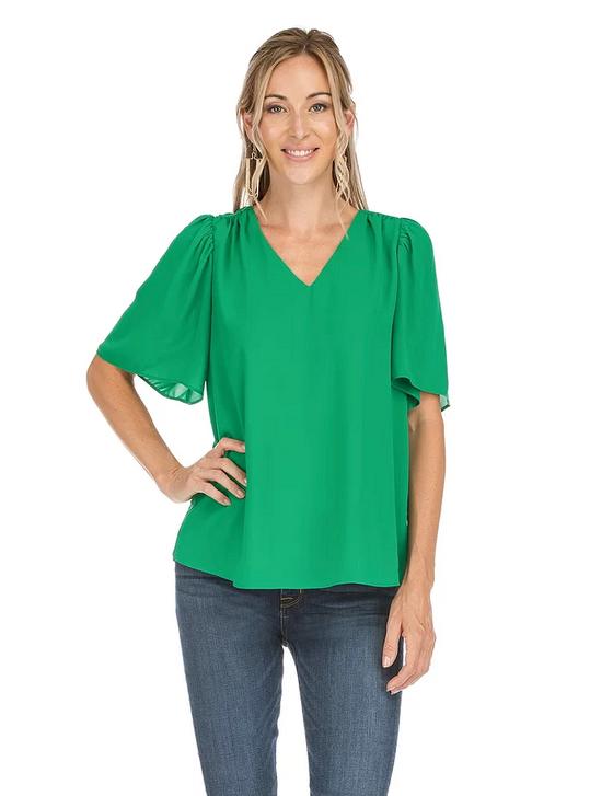 V-Neck Flutter Sleeve Top- Green