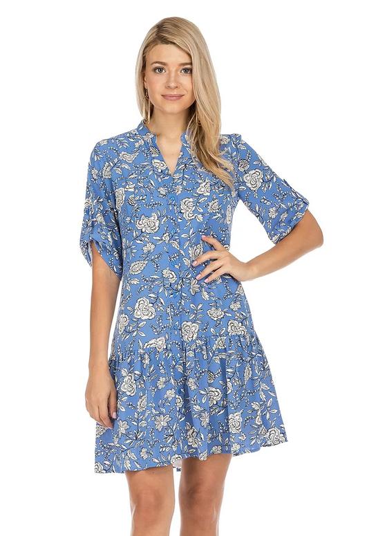 Button Down Dress- Blue Floral