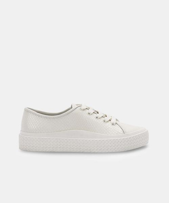 Valor Sneakers- White Embossed Leather