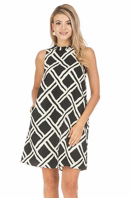 Ruffle Square Back Dress- Black Pattern