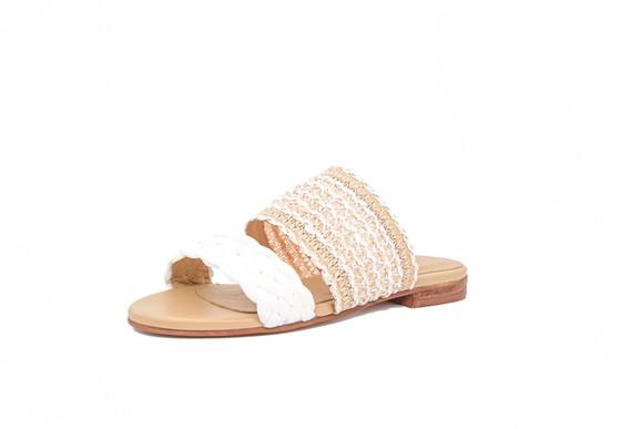 Tahiti Sandal- White/Tan
