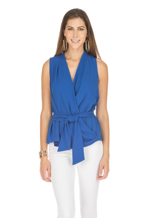 Wrap Tie Waist Top- Royal Blue
