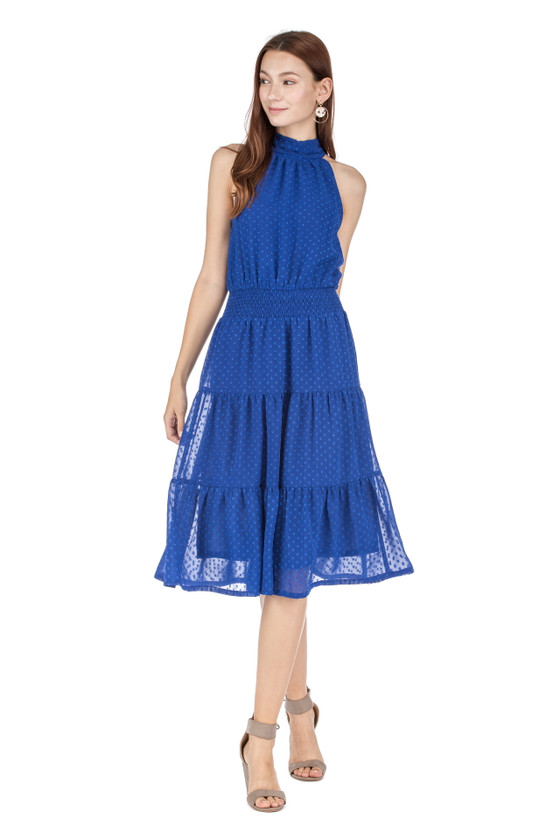 Cinch Waist Tiered Halter Dress- Royal Blue