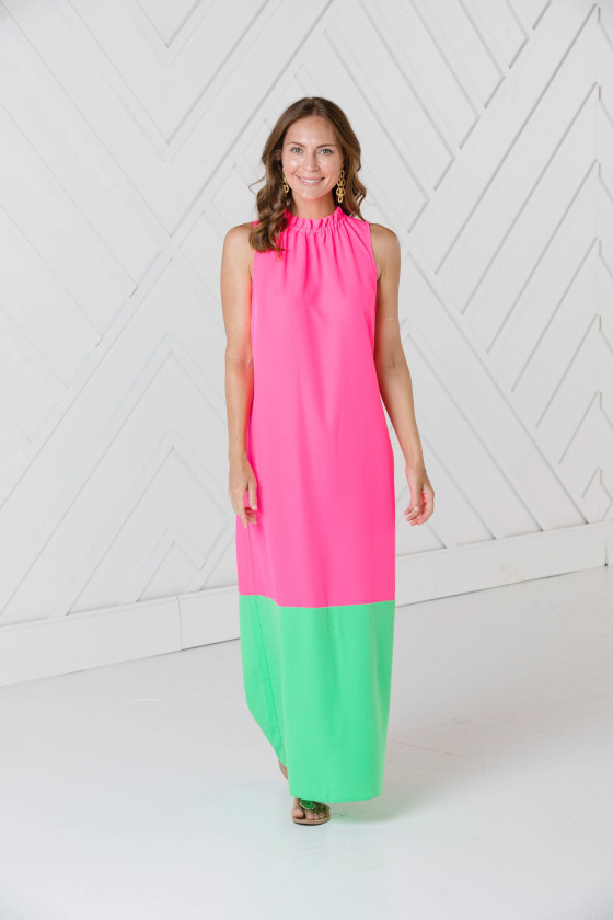 Ruffle Neck Maxi Dress- Hibiscus
