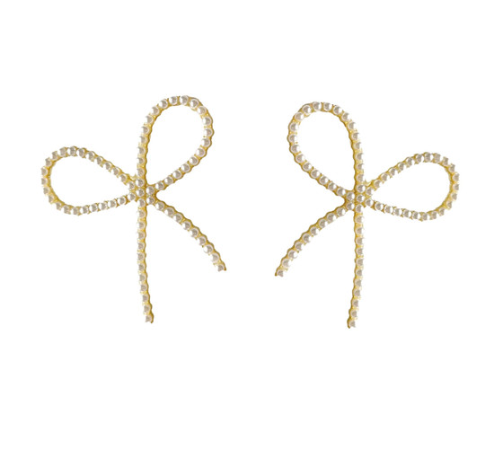 Pearl Bow Statement Earrings