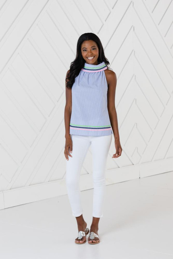 Cowl Neck Top with Ric Rac- Blue/White Stripe