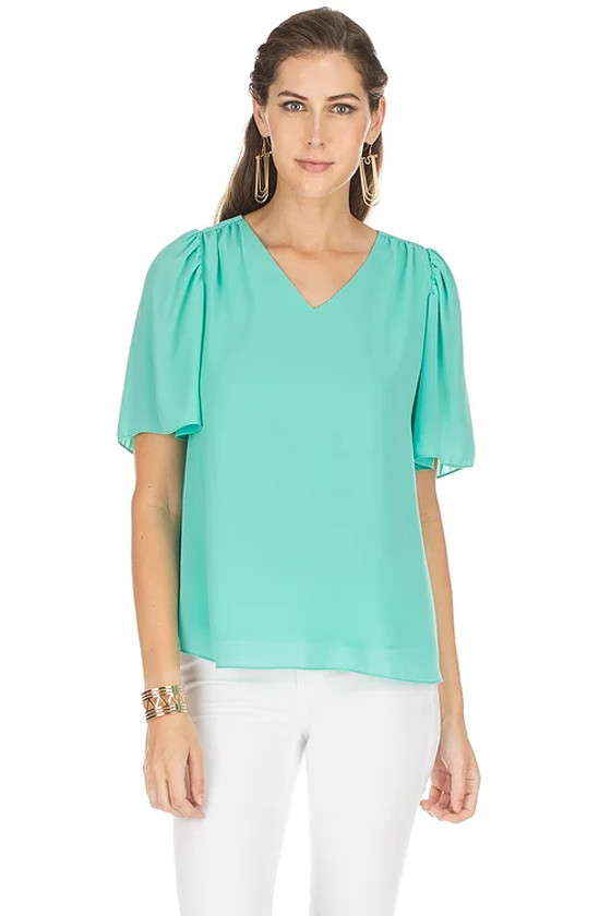 V-Neck Flutter Sleeve Top- Turquoise