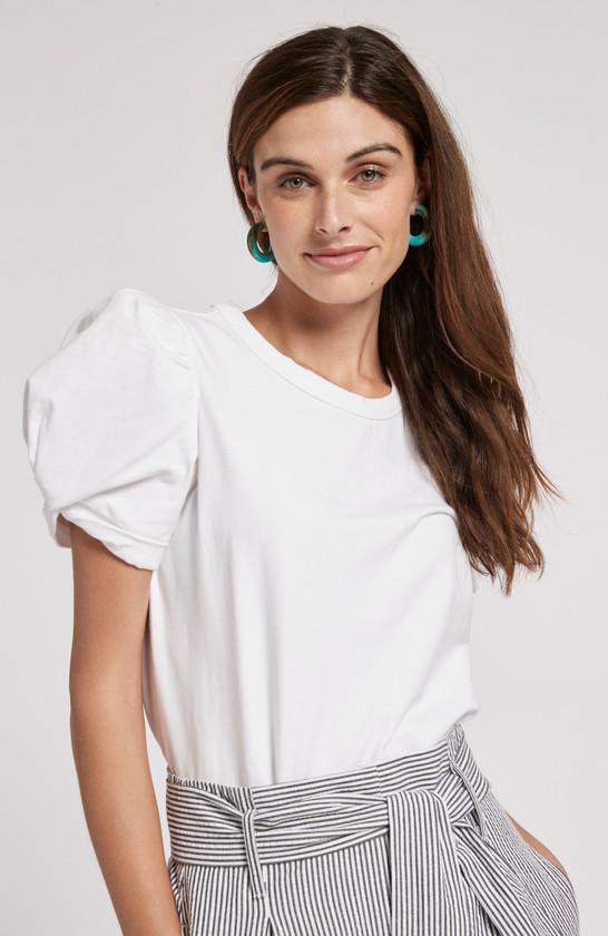 Kari Puff Sleeve Tee- White