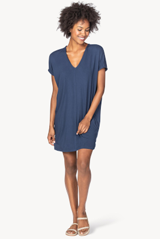Double V-Neck Dress- Eclipse