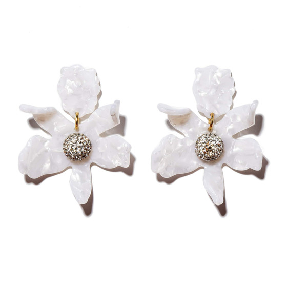 Crystal Lily Earrings- Mother of Pearl