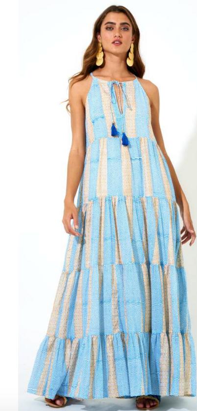 Long Tiered Tassel Dress- Blue/Gold Tulum