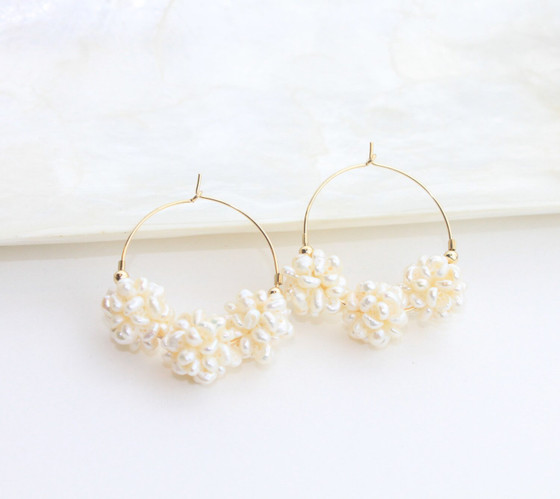 Small Pearl Cluster & Gold Hoops