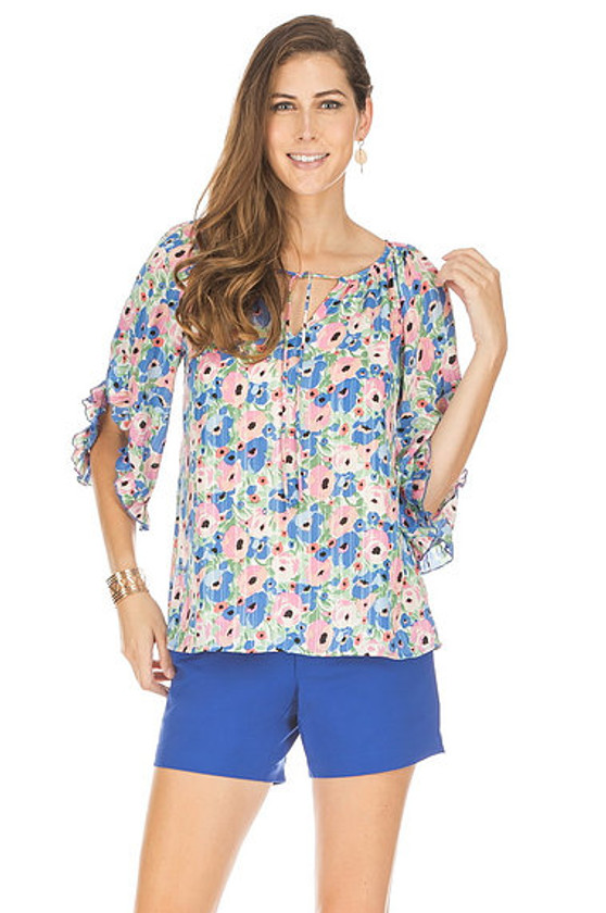Flared Sleeve Top- Roses