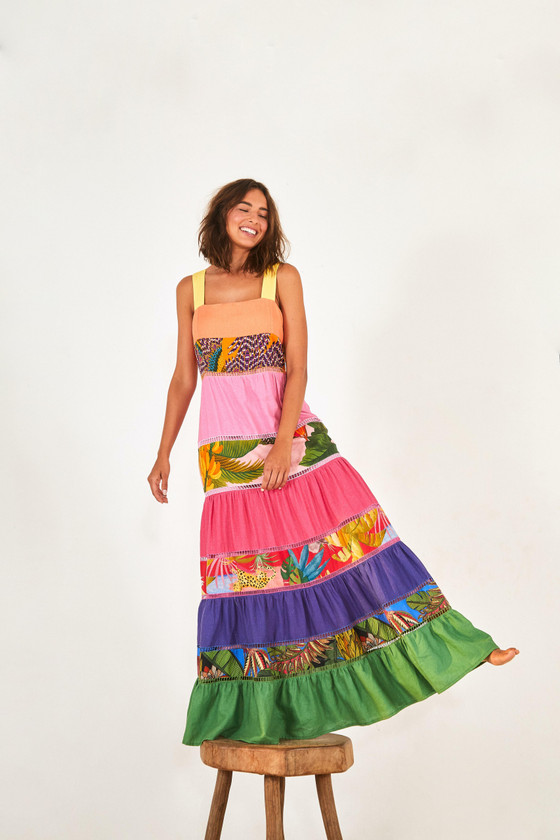 Rainbow Mixed Prints Maxi Dress- Mixed Prints