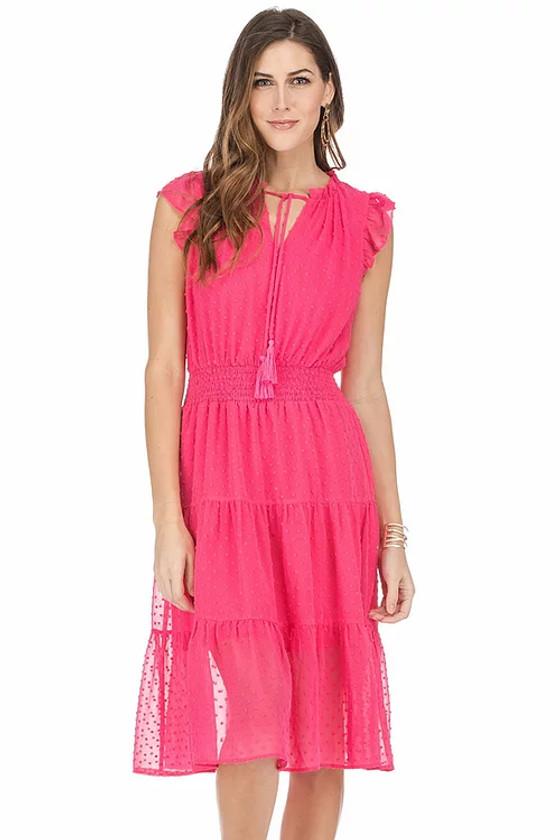 Swiss Dot Tiered Midi Dress- Pink
