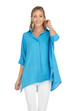 Button Down Collared Blouse- Turquoise