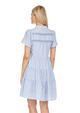 Button Front Tiered Dress- White Stripe