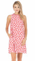 Ruffle Square Back Dress- Pink/Red