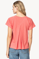 Short Sleeve Pleat Back Top- Coral