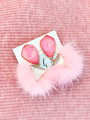 Druzy Mink Earrings- Pink