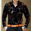 Exquisite flower pattern silk gold velvet hollow high-end shirt 2018 Spring&Autumn new fashion casual quality men shirt M-XXXL