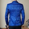 Royal Blue Black Promo Blazer For Men Rose Jaquard Print Slim Fit Blazer Stylish Blazer Business Casual Party Wedding Suit Coat