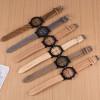 Women Watches Men Reloj Mujer Roman Numerals Wood Leather Band Analog Quartz Vogue Wrist Watches Zegarek Damski Relogio Feminino