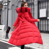 New Winter Women Long Cotton Parkas Large Fur Collar Hooded Coat Casual Padded Warm Jackets Wadded Snow Overcoat
