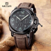 2016 New MEGIR Luxury Brand Quartz Watches Men analog chronograph Clock Men Sports Military Leather Strap Fashion Wrist Watch