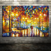 100% Hand Painted Romantic Rainy Street Oil Painting on Canvas Modern Abstract Knife Landscape Wall Art Artwork for Living Room