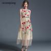 2018 Long Summer Dresses Newest Fashion Mesh Maxi Dresses Women Elegant Sleeveless O Neck Flower Floral Embroidery Vintage Dress