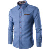 2018 New Fashion Brand Men Shirt Pocket Fight Leather Dress Shirt Long Sleeve Slim Fit Camisa Masculina Casual Male Shirts Model