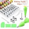 62PC Russian Pastry Nozzles Icing Piping Tip Set +Bag Converter Stainless Steel Kitchen Baking Cake Decorating Tools Cream Mouth