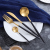 Luxury Dinnerware Set Stainless Steel Plating Gold Blue Black Knife Fork Tableware Cutlery White European Western Food Set 4pcs
