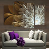 4pcs Wealth And Luxury Golden Flowers Painting Print on canvas wedding decoration Modular wall Picture Unframed