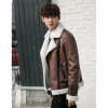 2018 Men Leather Jacket Suede Faux Lambswool Coats Outwear Thick Warm Motorcycle Clothing Parkas Buckle Fashion