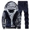 2017 NEW spring Sportswear Casual Suit Hoodies Men cotton Zipper Trousers Sweatshirts Winter Warm Thicken Tracksuit Set 78z