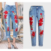 2017 Hot Vogue Jeans Women Stretch Loose Denim Pants Floral 3D Embroidery Bleach Ripped Pants Female Elastic Denim Jeans Pants