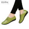 EOFK Women Flats 2018 Autumn Spring Soft Comfortable Genuine Leather Flat Shoes Woman Lace Up Female Casual Shoes Plus size 41