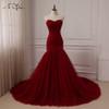 ADLN Cheap Burgundy Wedding Dress Sweetheart Sleeveless Tulle Mermaid Wedding Dresses Vestido De Novia Lace-up Back Custom made