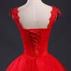 Fansmile Red V-neck Robes de Mariee Vintage Lace Up Wedding Dress 2017 Cheap Red Bridal Dress Real Photo FSM-139F