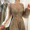 Muslim Long Sleeve Beaded Formal Evening Prom Party Gown Dress Gowns Dresses Robe De Soiree BLA6535