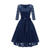 Cheap Three Quarter Sleeve Lace Appliques Evening Dress Short 2018 V Neck Cut-out Evening Gowns with Sashes Vestidos Curto
