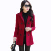 Autumn Winter new fashion women wool coat double breasted coat elegant bodycon cocoon wool long coat Solid color tops LU304