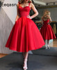 Elegant Red Short Cocktail Dresses Women Satin Party Dress Knee Length A Line Robe de Cocktail 2018 Prom Gown
