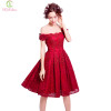 SSYFashion New Red Lace Flower Short Cocktail Dress The Bride Married Banquet Embroidery Boat Neck Knee-length Formal Party Gown