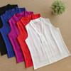 2017 New Fashion Women Chiffon Blouses Ladies Tops Female Sleeveless Shirt Blusas Femininas White,Red,Purple,Black S-XL