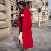 2019 Winter New Korean Red Woolen Jacket women's Slim Collect waist Long knee over Thick Woolen Coat Female Outwear S-2XL WYT550